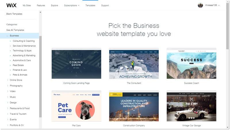 Wix.com kujunduse valimine