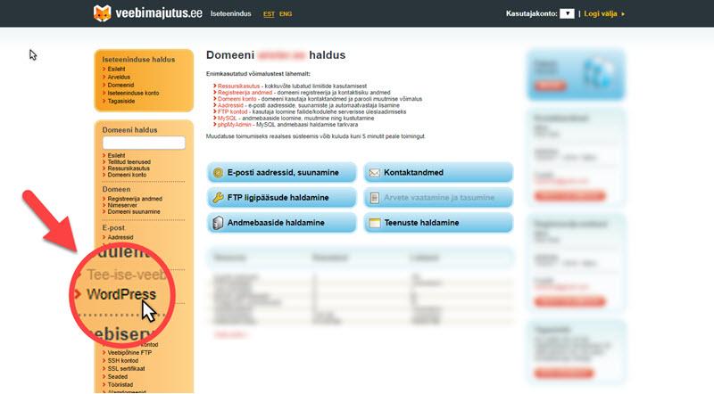 WordPressi paigaldamine (Elkdata)