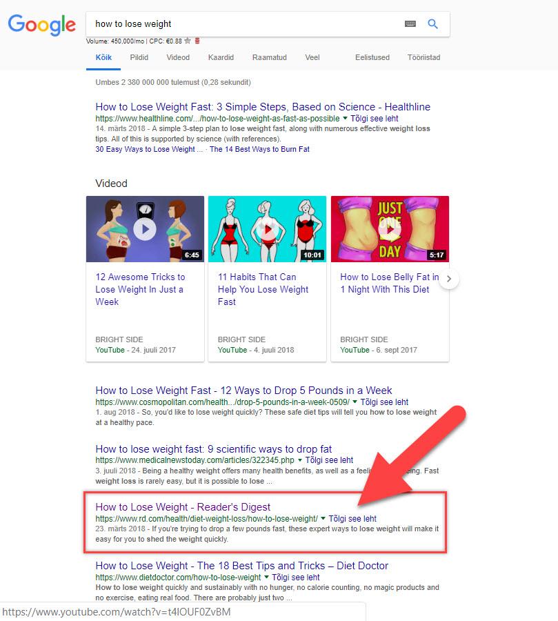 Google otsitulemused