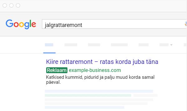 Google Ads kampaania näidis