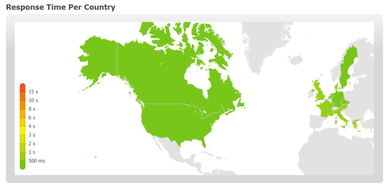 Wix website response time per country July 18'