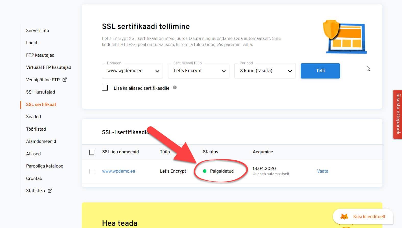 SSL sertifikaadi paigaldamine